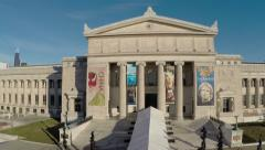 Low level aerial Flight across Chicago's Field Museum of Natural History Stock Footage