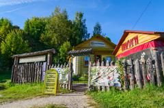 Souvenir shop at source of St. Ilya Muromets in Karacharovo, Russia Stock Photos