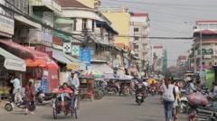 Rickshaws at Kandal market,Phnom Penh,Cambodia - stock footage