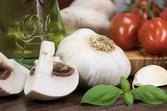 Vegetable on the wooden desk - stock photo