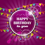 Happy Birthday vector design with colorful flags and confetti. Piirros