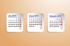 Calendar for the third quarter of the year 2016 - stock illustration
