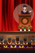 Graduating Man Giving a Speech - stock illustration
