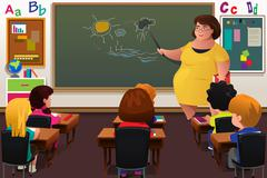 Teacher teaching  in a Classroom Stock Illustration