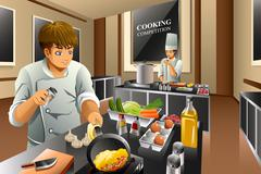 Stock Illustration of Chef in Cooking Competition