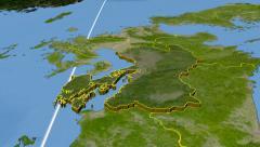 Kumamoto - Japan prefecture extruded. Satellite Stock Footage