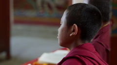 Young Tibetan buddhist monks chanting the puja ceremony in rural Nepal. Stock Footage