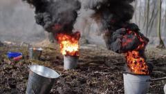 smokescreen bomb in the bucket - stock footage
