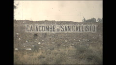 Vintage 16mm film, 1955, Italy Rome, on bus, catacombs de San Calisto Stock Footage