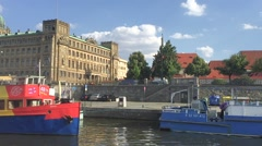 View from the boat of the Prague's architecture. Stock Footage