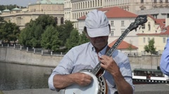 Buskers in Prague Stock Footage