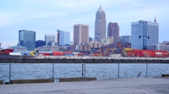 Cleveland, downtown from the docks Stock Footage