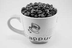 Cup full of coffee beans isolated - stock photo