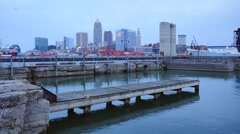 Cleveland, downtown from the docks (motion) Stock Footage