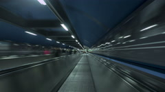 People in Metro Moving time-lapse  on travelators Stock Footage