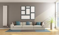 Contemporary living room with sofa - stock illustration