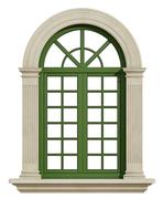 Classic arch window with stone frame - stock illustration