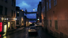People and cars coming from Götgatan Stockholm time-lapse Stock Footage