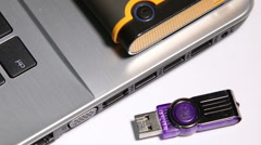 The USB installation of a flash card in the laptop. Stock Footage