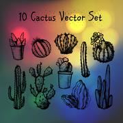 Hand Drawn Isolated Cactuses Set - stock illustration
