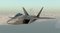 F 22 raptor , american military fighter plane.Jet plane. Fly in clouds. Stock Footage