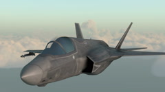 F35 , american military fighter plane.Jet plane. Fly in clouds. - stock footage
