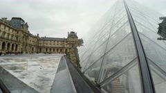 Louvre. The famous art museum in Paris. Pyramid. France.  4K. Stock Footage