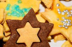 star shaped Christmas cookie Detailed view - stock photo