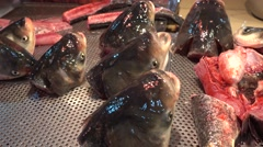 live fish head in traditional market in canton - stock footage