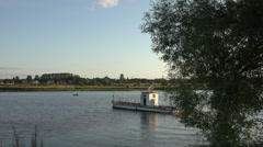Transportation of people by the river taxi on Volga Stock Footage