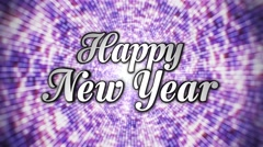 Stock Video Footage of Happy New Year,  Text in Disco Dance Tunnel, In / Out,  Rotation Text, Loop, wit