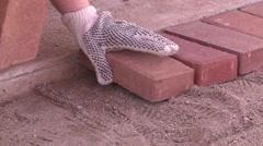 Masonry worker laying brick  Stock Footage