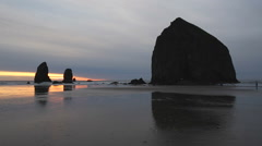 Cannon Beach, Oregon, Sunset Cycle Stock Footage