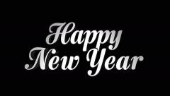 Happy New Year Text, ONLY Text, Zoom IN / OUT, with Alpha Channel, Loop, 4k Stock Footage