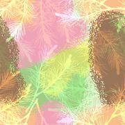 Pine branch seamless pattern camouflage ice cream Stock Illustration
