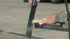 Worker sawing wood Stock Footage