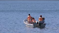 A family fishing in Lake Hakone, Japan Stock Footage