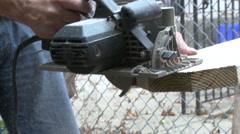 Circular saw cutting wood 2 - stock footage
