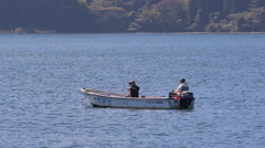 Fishing on Lake Hakone, Japan Stock Footage