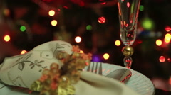 Christmas Table Setting Celebration 3 Stock Footage
