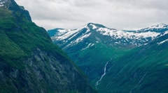 GEIRANGER FJORD, NORWAY, Ferryboat in Norwegian Fjord, Aerial View Stock Footage