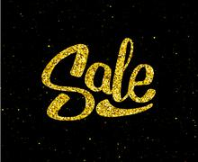 Christmas Sale gold glittering lettering design Stock Illustration