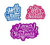 Merry Christmas and Feliz navidad stickers Stock Illustration