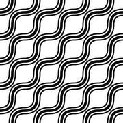 Seamless monochrome angular wave pattern - stock illustration