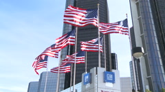 Exterior of General Motors building 2 - stock footage