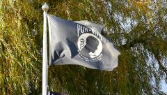 POW MIA flag waving, slow motion Stock Footage