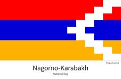 National flag of Nagorno-Karabakh with correct proportions, element, colors - stock illustration