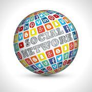 Social Network theme sphere Stock Illustration