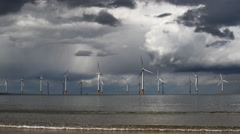 Windmills in the sea Stock Footage