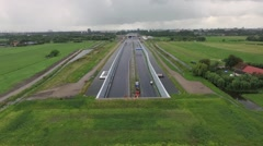 Aerials Rotterdam contruction of new A4 higway through rural zone Stock Footage